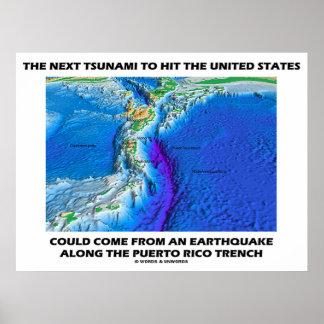 Tsunami Puerto Rico Trench (Plate Tectonics Earth) Poster
