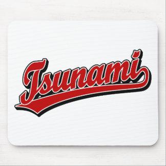 Tsunami script logo in Red Mouse Pad