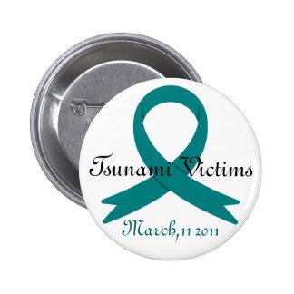 Tsunami Victims awareness ribbon Button