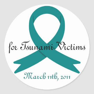 Tsunami Victims awareness ribbon Classic Round Sticker