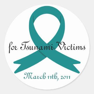 Tsunami Victims awareness ribbon Round Sticker