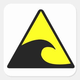 Tsunami Warning Square Sticker