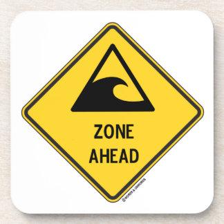 Tsunami Zone Ahead (Yellow Diamond Warning Sign) Beverage Coaster