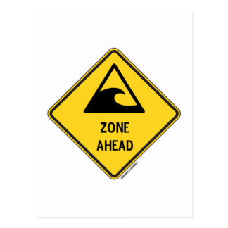 Tsunami Zone Ahead (Yellow Diamond Warning Sign) Post Cards