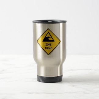 Tsunami Zone Ahead (Yellow Diamond Warning Sign) Travel Mug