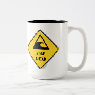 Tsunami Zone Ahead (Yellow Diamond Warning Sign) Two-Tone Coffee Mug