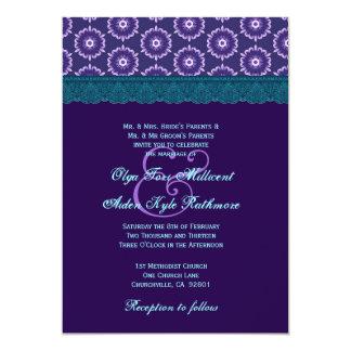 TT024 Teal Blue and Purple Lace Wedding Monogram 5x7 Paper Invitation Card