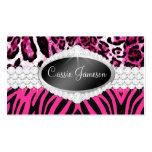 TT-Diamond Bliss Pink Zebra Leopard Photo Card Double-Sided Standard Business Cards (Pack Of 100)