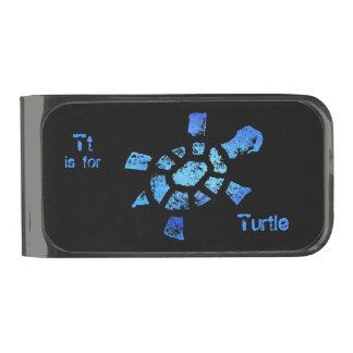 Tt is for Turtle Gunmetal Finish Money Clip