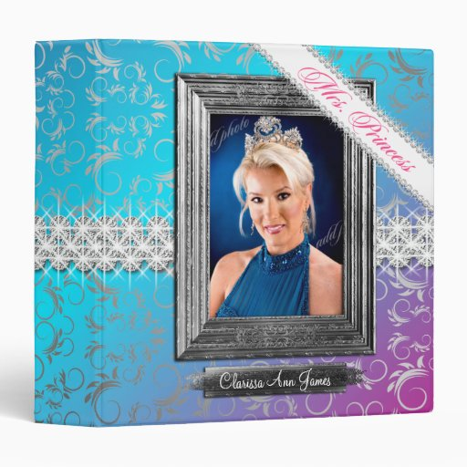TT-Mrs. Princess Beauty Pageant Glam Fade 3 Ring Binders