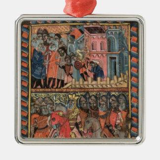 TtoB The Israelites leaving Egypt Square Metal Christmas Ornament