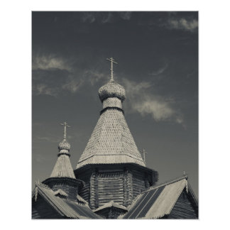 Ttraditional wooden Russian Orthodox church 3 Poster