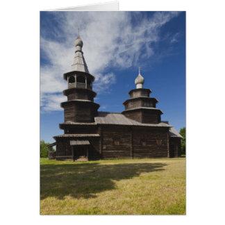 Ttraditional wooden Russian Orthodox church Card