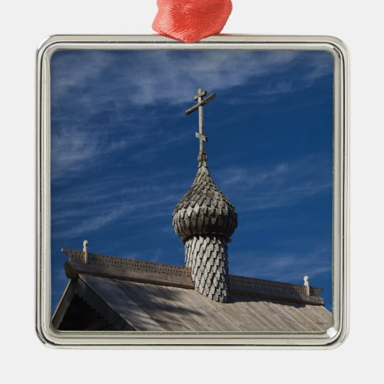 Ttraditional wooden Russian Orthodox church Metal Ornament