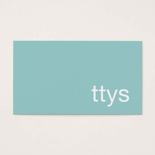 Ttys Networking Minimalistic Turquoise Blue Business Card