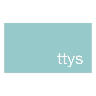 Ttys Networking Minimalistic Turquoise Blue Double-Sided Standard Business Cards (Pack Of 100)