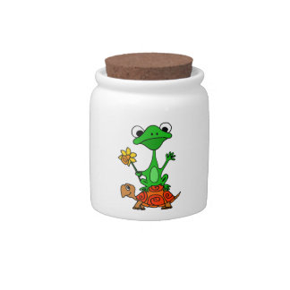 TU- Funny Frog Riding Turtle Cartoon Candy Jars