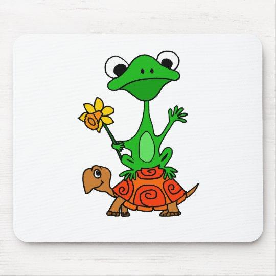 TU- Funny Frog Riding Turtle Cartoon Mouse Pad