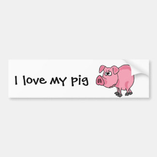 TU- Funny Pink Pig Original Art Bumper Sticker