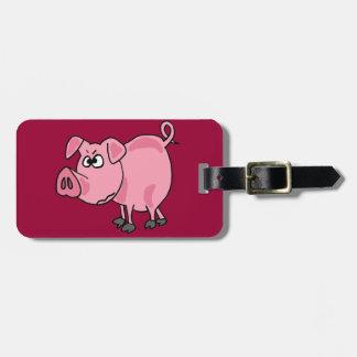 TU- Funny Pink Pig Original Art Tag For Luggage