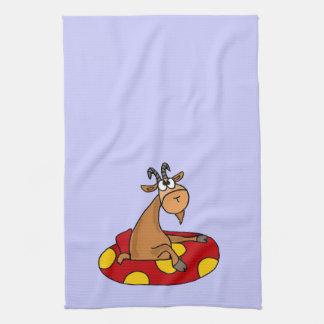 TU- Funny Whatever Floats Your Goat Cartoon Hand Towel