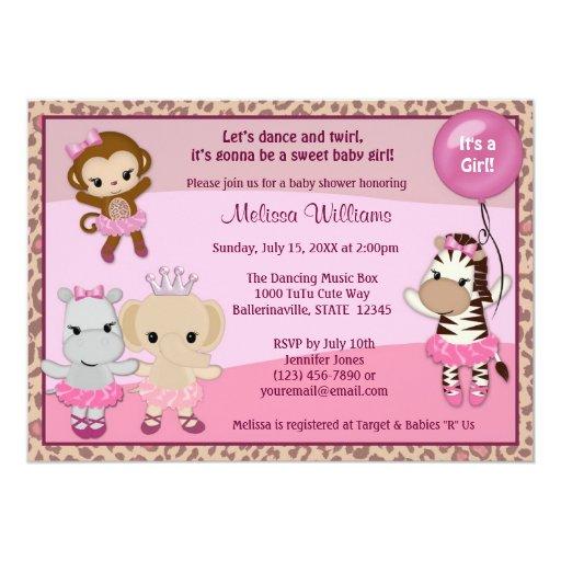 tu tu cute baby shower invitation monkey girl ttc zazzle