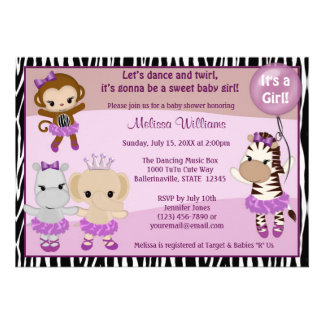 Tu Tu Cute Baby Shower invitation MONKEY GIRL TTC2