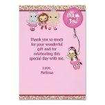 "Tu Tu Cute Thank You 3.5""x5"" MONKEY GIRL TTC(FLAT) 3.5x5 Paper Invitation Card"