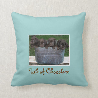 Tub of Chocolate Labs on decorative pillow