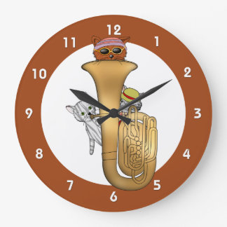 Tuba Cat Time Large Clock