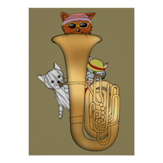 Tuba Cats Poster