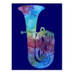 Tuba coloreada arco iris tarjetas postales