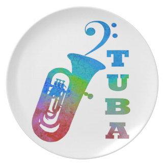 Tuba con el Clef bajo Plato