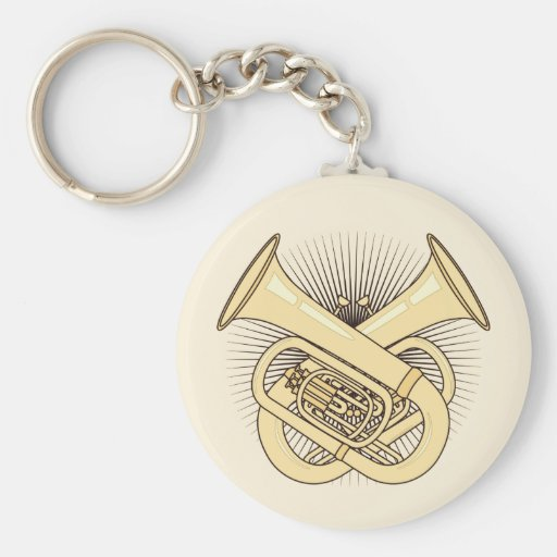 Tuba Crossbones Basic Round Button Keychain