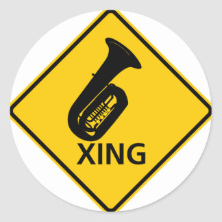 Tuba Crossing Highway Sign Classic Round Sticker