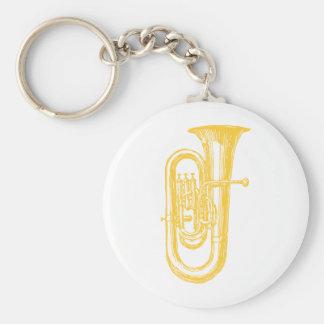 """Tuba """"de cobre amarillo"""" llavero redondo tipo pin"""