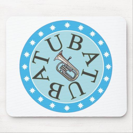 Tuba de la estrella azul tapetes de ratón
