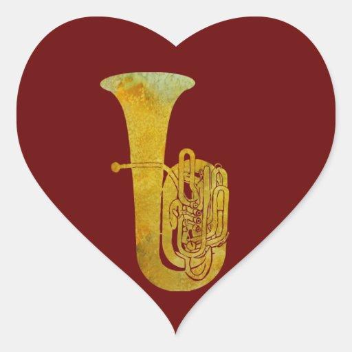 Tuba de oro calcomania corazon