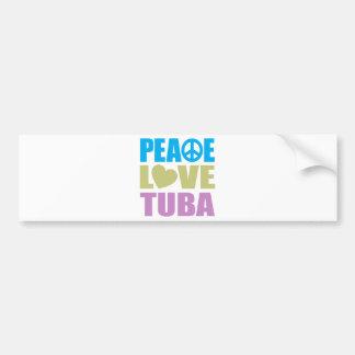 Tuba del amor de la paz etiqueta de parachoque