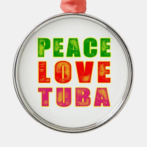 Tuba del amor de la paz ornamento para arbol de navidad