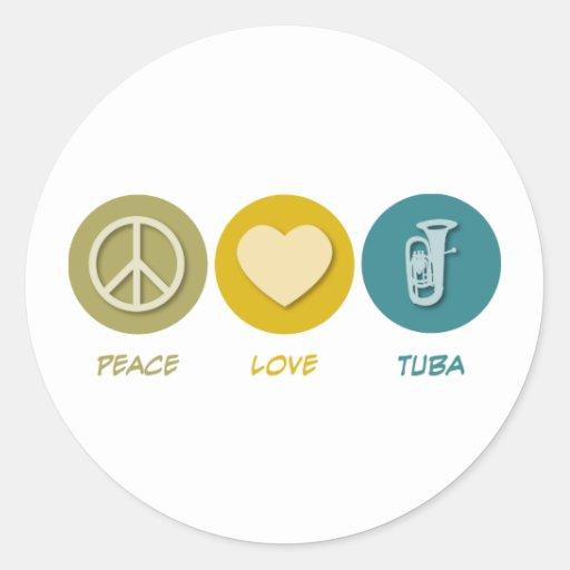 Tuba del amor de la paz pegatinas redondas