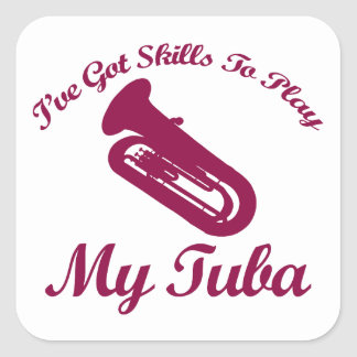 tuba designs square sticker