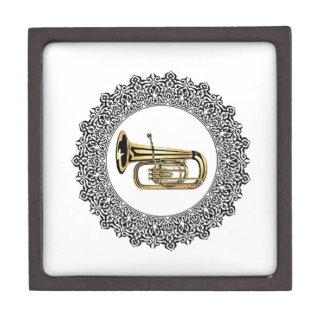 tuba in a circle frame jewelry box