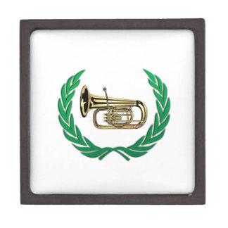 tuba in green gift box