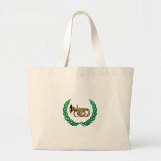 tuba in green large tote bag