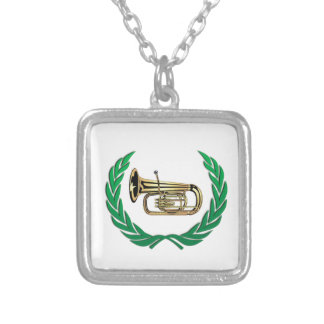 tuba in green silver plated necklace