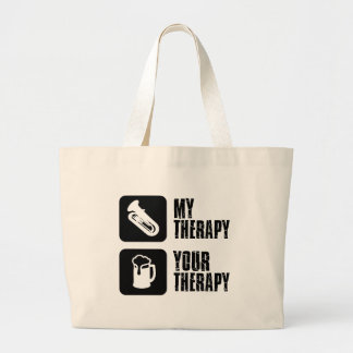 tuba is my therapy large tote bag