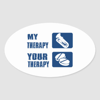 tuba is my therapy oval sticker