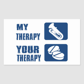 tuba is my therapy rectangular sticker