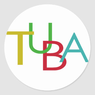 TUBA Letters Classic Round Sticker